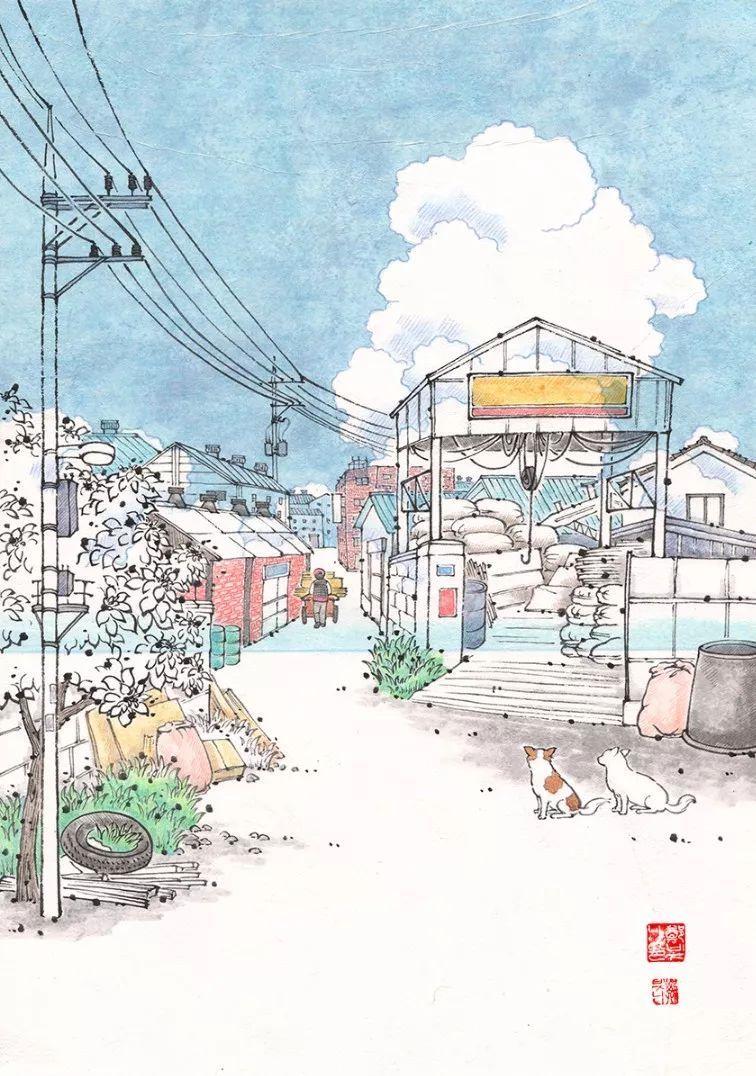 插画师用水彩画记录下来 深爱着自己居住的城市 你是否一样?图片