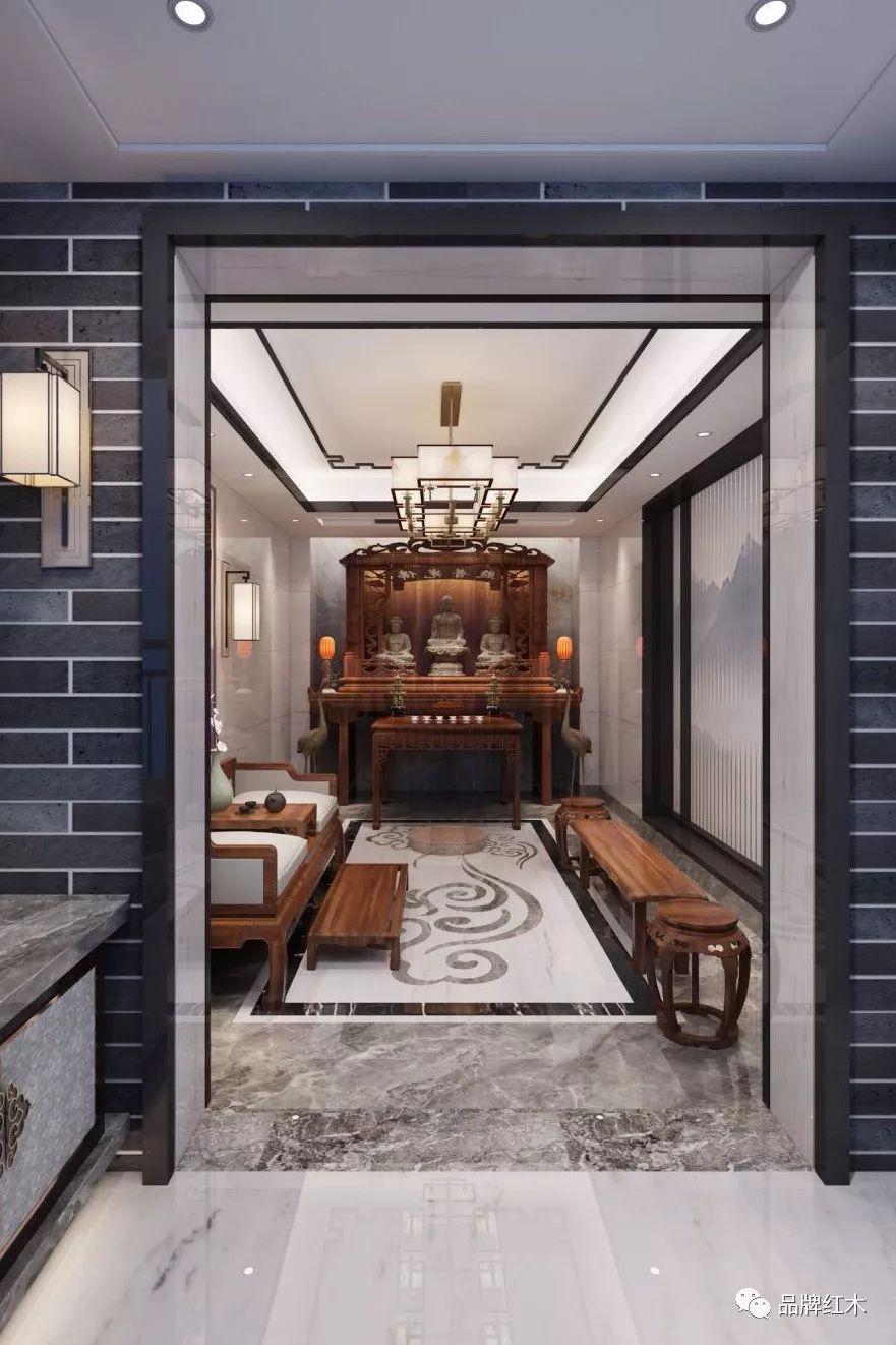中式影��k�_新中式居室中加入佛堂的设计,庄重肃穆,体现了主人的高雅修养