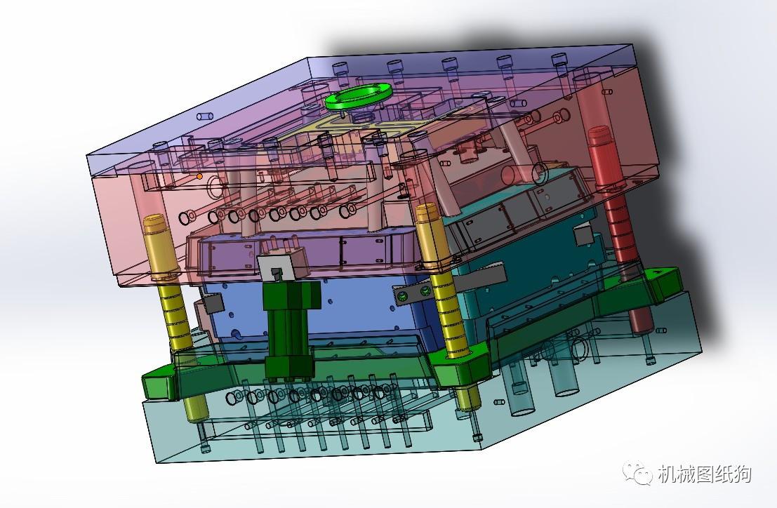 【工程机械】周转箱模具设计3d图纸 solidworks设计