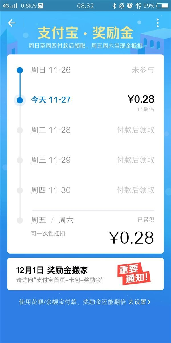 """支付宝奖励金12月1日""""搬家"""" 卡包要火?"""