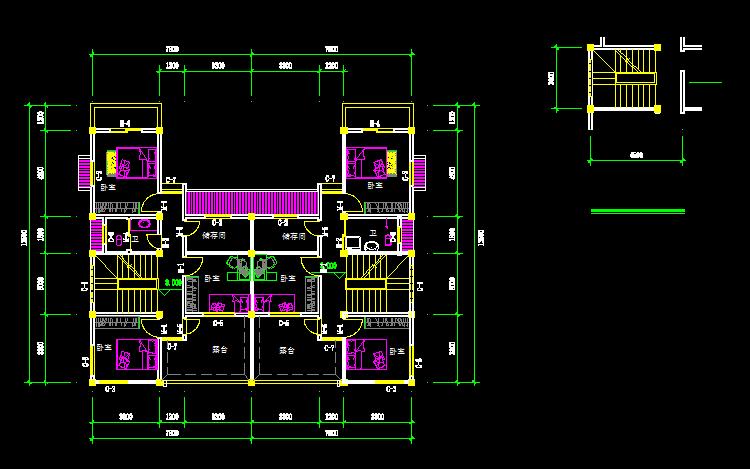 cad画简单房子平面图