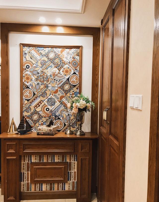 150方复古美式的家,一进门就被玄关惊艳了,真佩服自己