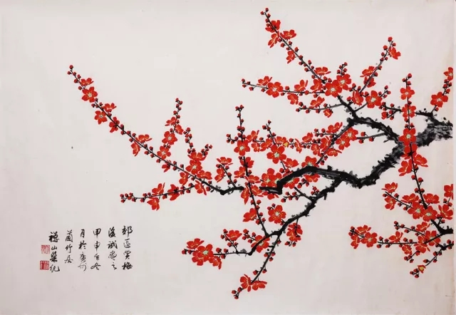 其中,工笔画作品跨越两个世纪,有创作于上世纪五十年代的作品《紫荆