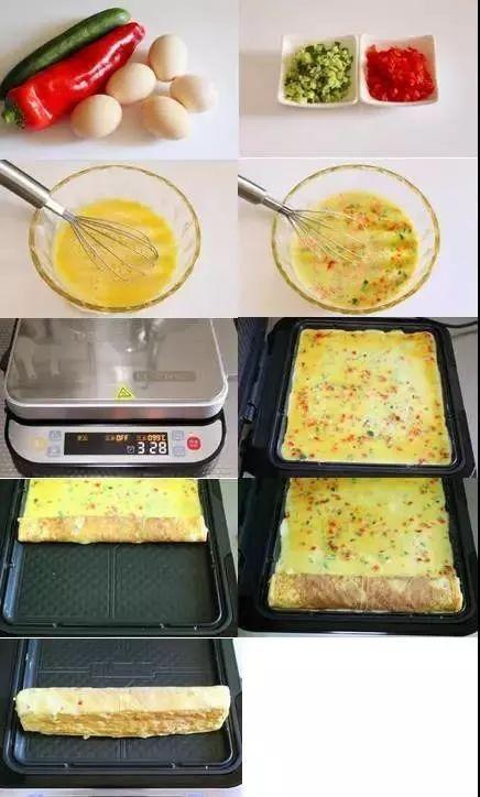 将红辣椒、小黄瓜、盐分别放入蛋液中,搅拌均匀,在电饼铛中煎烤即可。