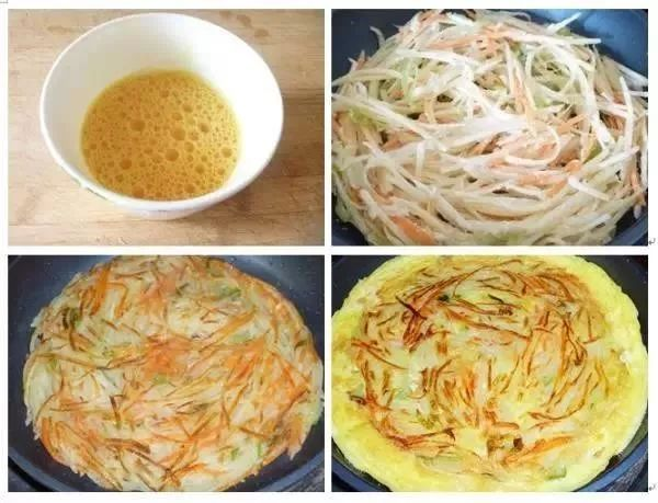 平底锅热了倒入橄榄油少许,下锅煎至金黄。