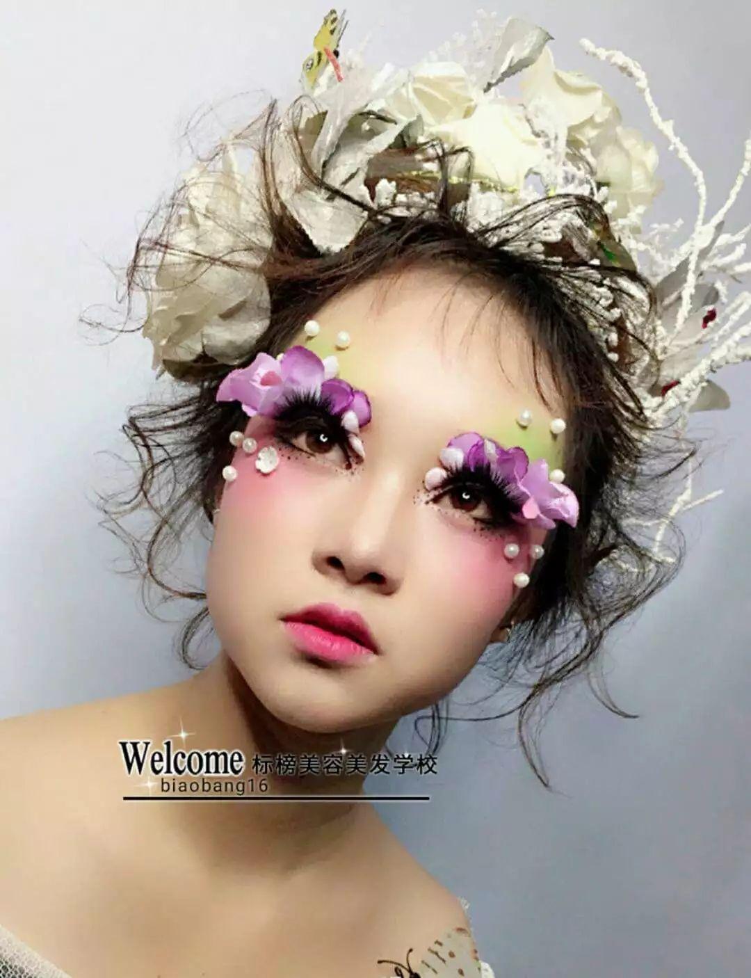 【标榜化妆作品】创意白纱新娘妆容造型图片