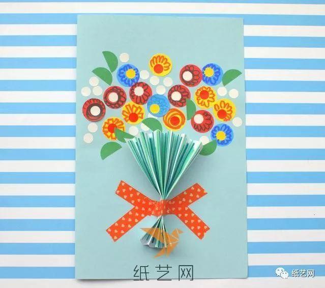 国庆节花束贺卡制作方法 国庆节创意贺卡手工制作图解