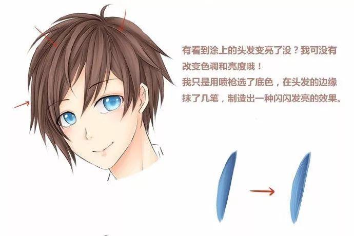【绘画教程】简单好看的 sai 头发上色教程(新手必备)