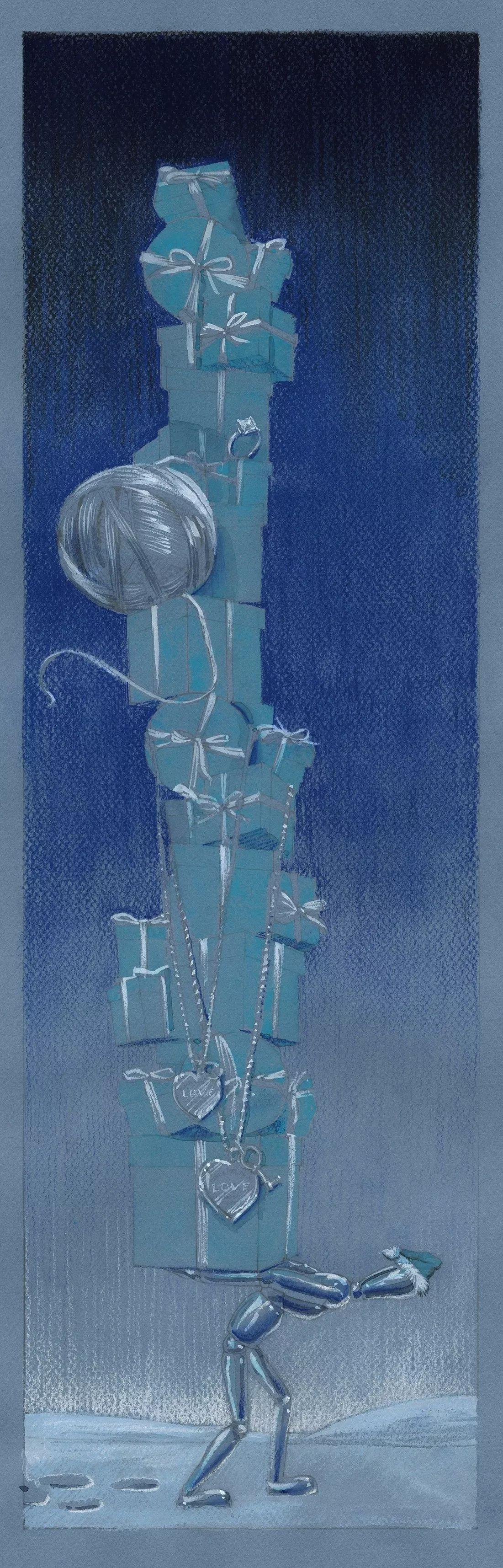奇幻圣诞橱窗手绘图