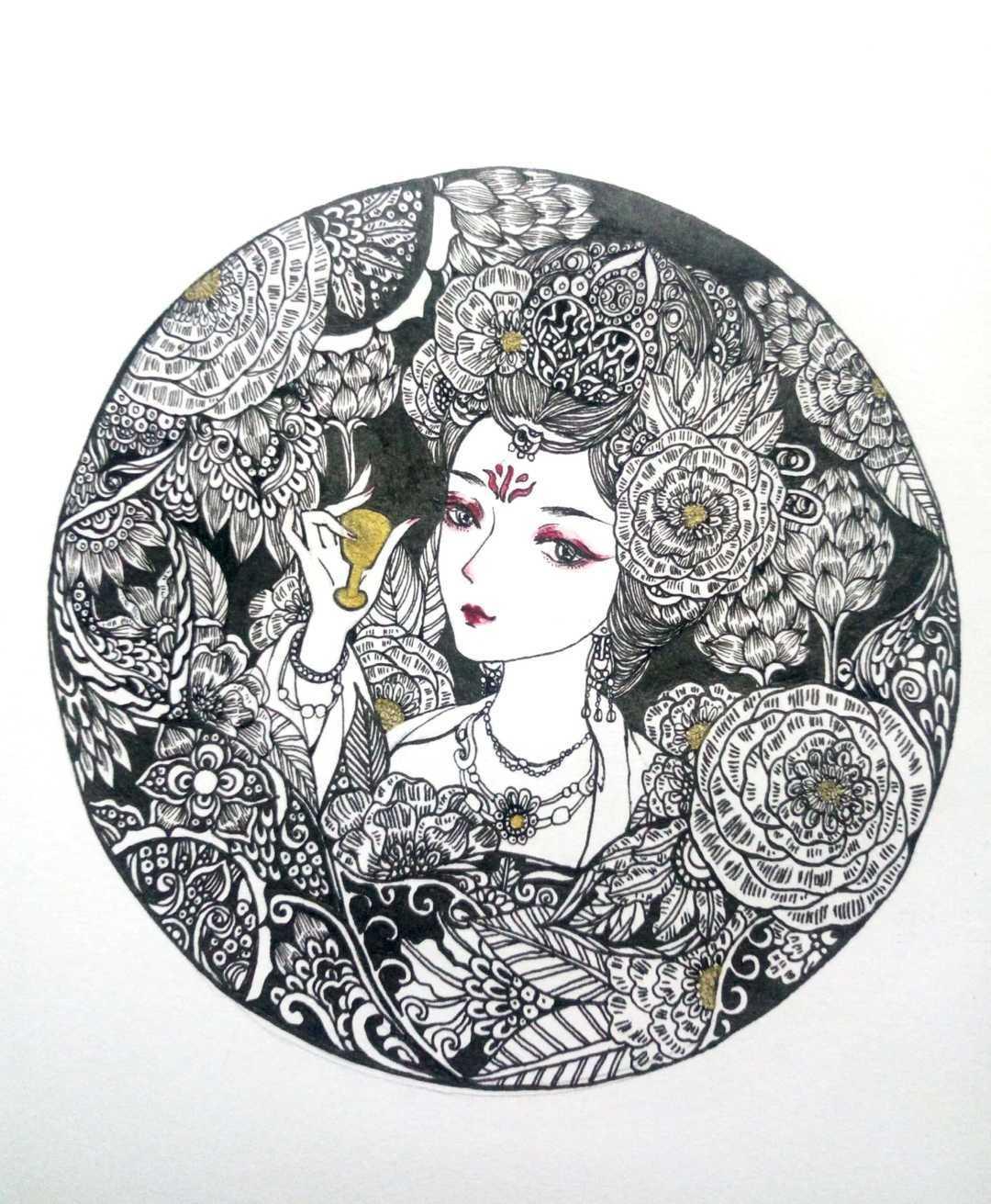 针管笔达人绘 | 黑白手绘之秦淮八艳