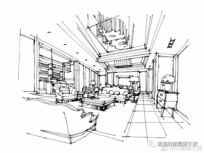 「美图欣赏」室内手绘线稿---客厅篇