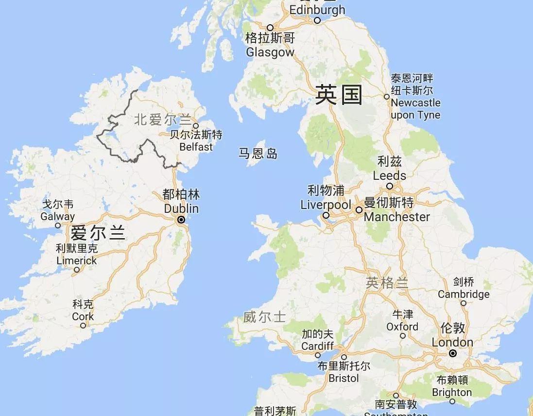 英国北爱尔兰地区与爱尔兰地理方位图(图片来自google map)图片