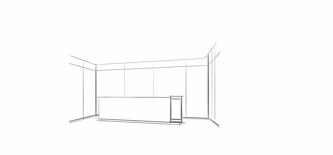 手绘效果图 1,根据前台平面图,运用skb软件的辅助功能把前台与背景墙