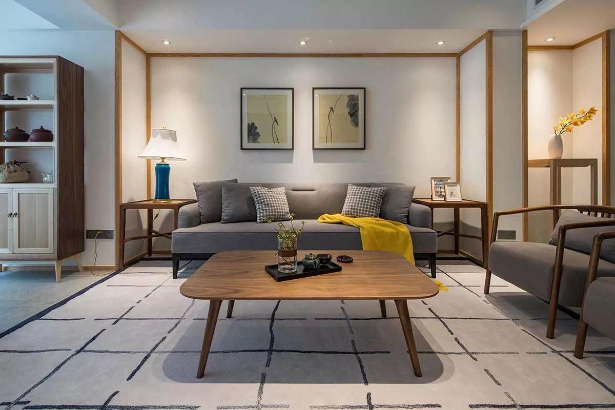 80㎡新中式素雅两居,尤爱那阳台打造成的茶室,充满禅意!图片