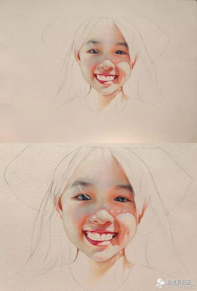 戴草帽的小女孩~~超写实彩铅手绘过程!