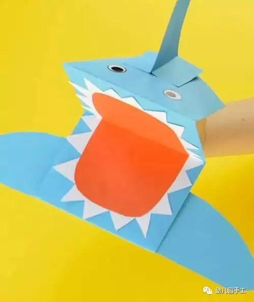 亲子手工制作手偶大鲨鱼