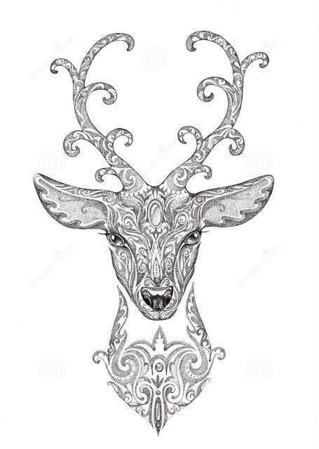 纹身素材 | 代表神灵化身的鹿纹身图案