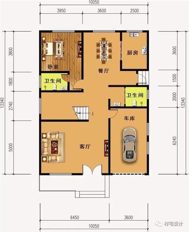 一层平面图:设有客厅,厨房,餐厅,卧室,2卫生间,车库