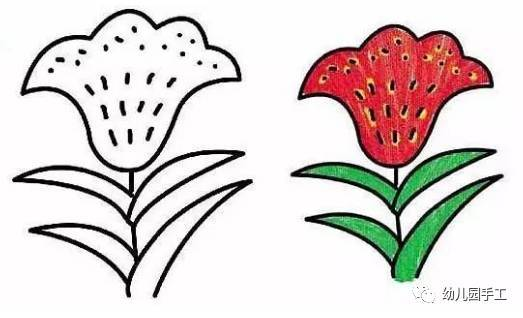 手工折纸vs简笔画,鸡冠花,荷花,玫瑰花,三叶草图片