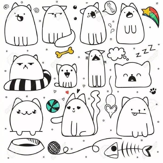 有各种风格的猫咪 还有各种姿势的猫咪 并且是以简笔画的形式呈现图片