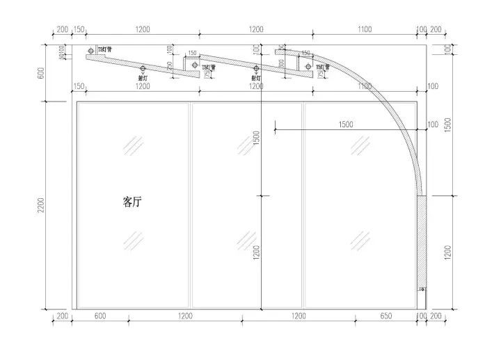 客厅吊顶的cad剖面图.图片