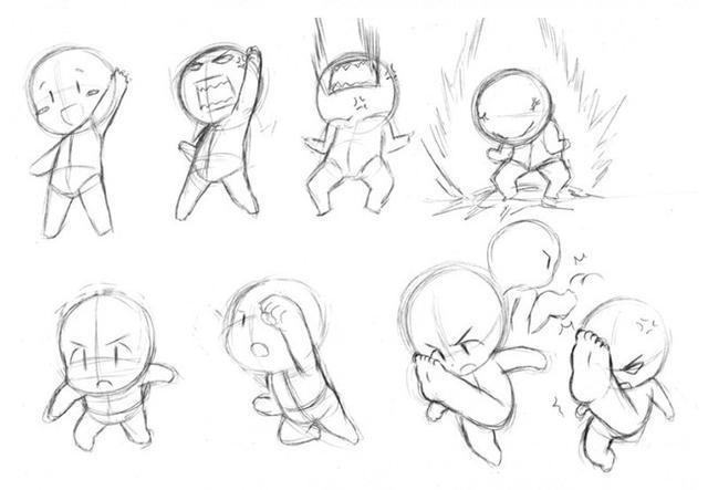 动漫 正文  q版手绘漫画人物自学教程之动态,一组q版小人的画法和参考