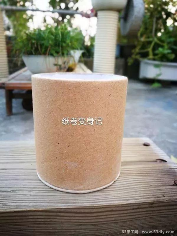 胶带芯,卷纸筒废物利用制作创意花瓶