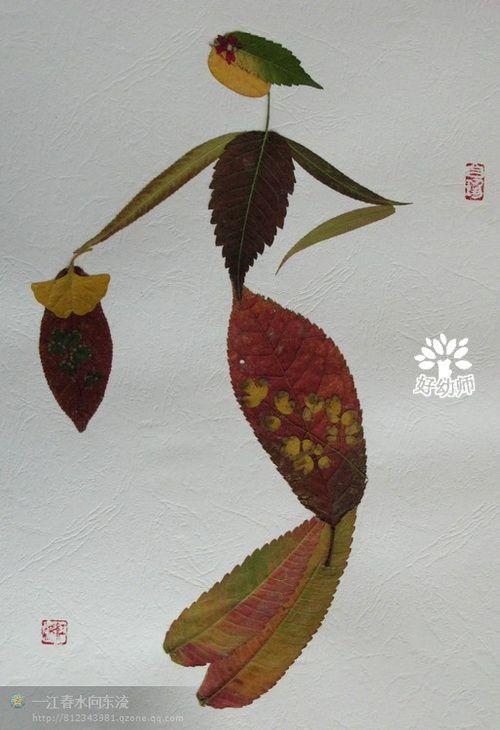 树叶粘贴画 准备材料:卡纸,胶水,树叶 做法:用树叶在卡纸上粘贴各种