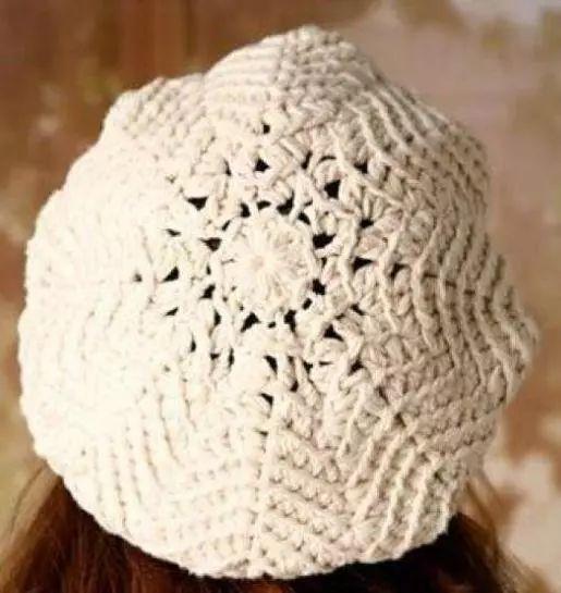 时尚的女士钩针帽子花样图解,带帽檐儿的