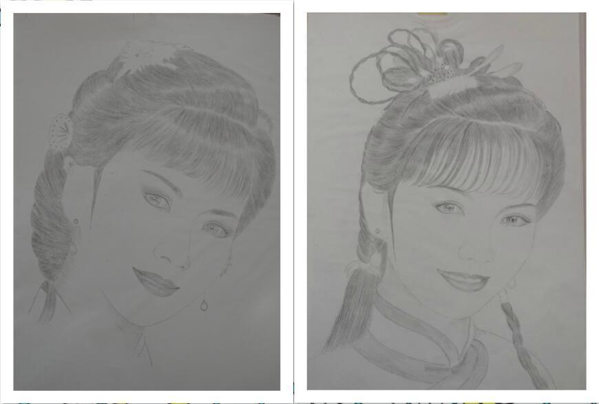 铅笔手绘赵雅芝经典剧照 回顾经典颦蹙间仙气十足