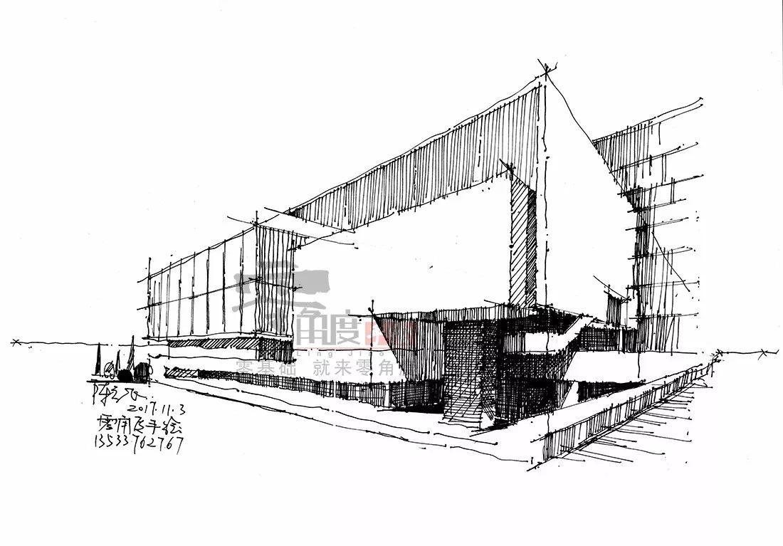 实况录像回顾 | 陈立飞老师 手绘解析建筑体块光影网络课,示范步骤图