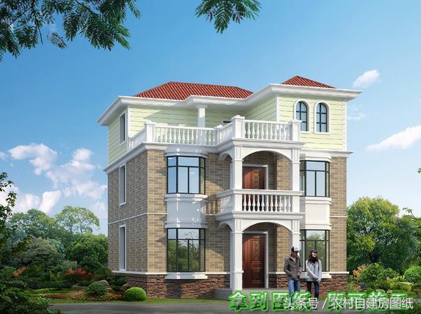 10X11米二层半农村别墅设计图,3款外观,喜欢第2款的最多
