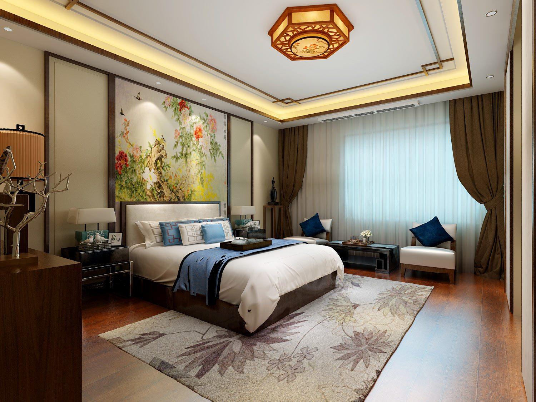 新中式风格别墅装修效果图主卧