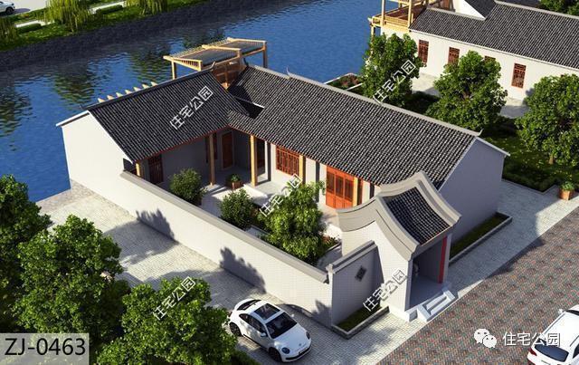 这套是四合院形式的双拼别墅户型,古朴大气,古色古香,很有中国古建筑图片