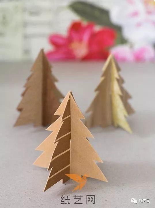 简单的立体剪纸圣诞树制作教程