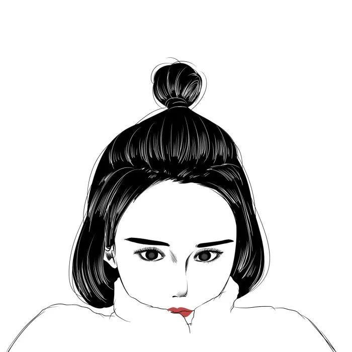 手绘女头像