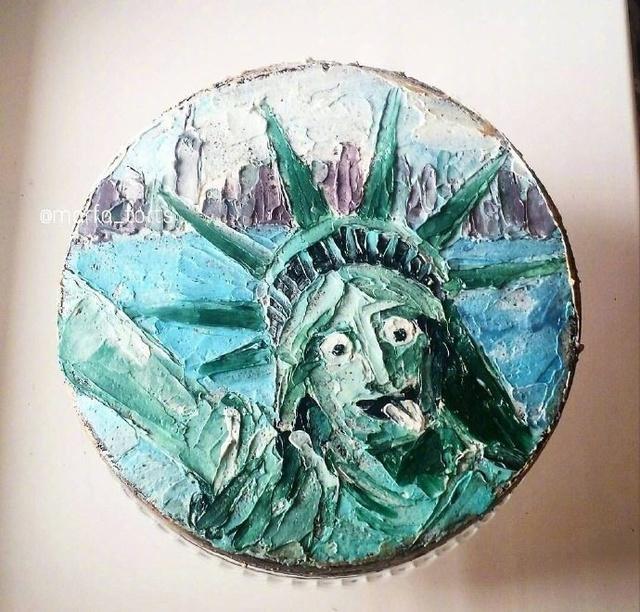 蛋糕做成刮刀画 只有你想不到