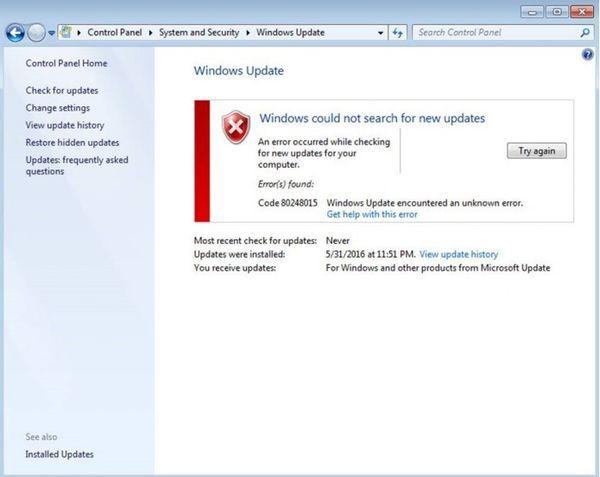 Windows 7更新出Error 80248015错误的照片 - 1