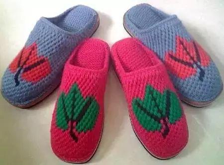 毛线拖鞋图片