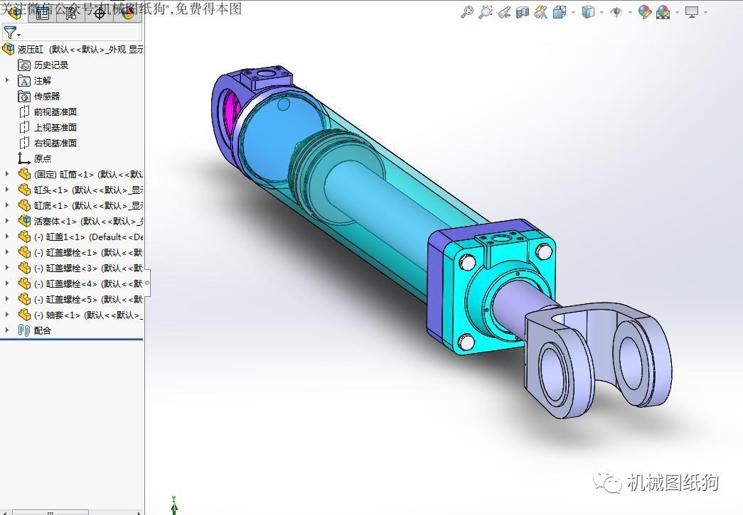 【泵缸阀杆】提升液压缸模型3d图纸 solidworks设计图片