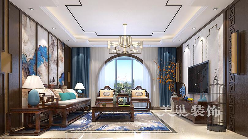 新中式客餐厅样板间 餐厅样板间 康桥悦岛126平三室两厅现代简约装修