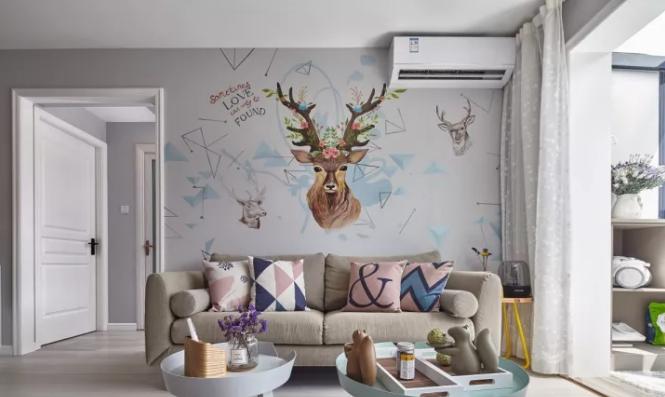 灰色的背景墙采用墙绘的方式,成为空间中的点睛之笔,利用麋鹿的图案来图片
