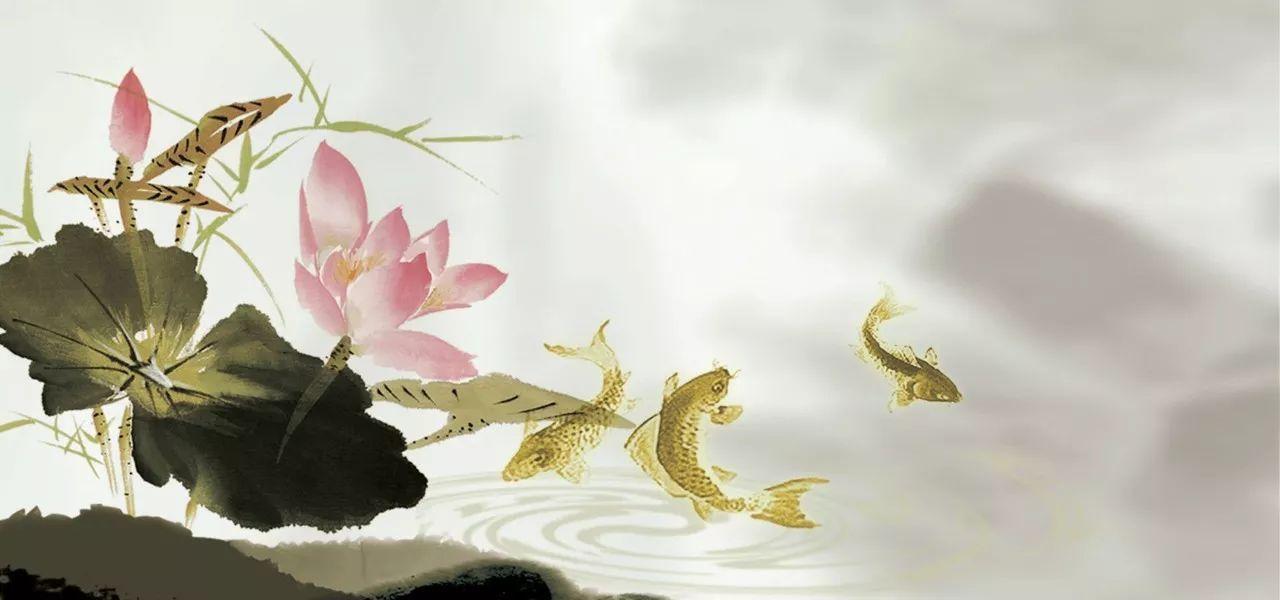 新中式水墨荷花背景墙手绘荷花画 素材公社图片