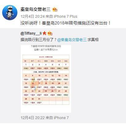 根据之前的官方公告,秦皇岛的限行时间为 2017年11月6日至2017年12月