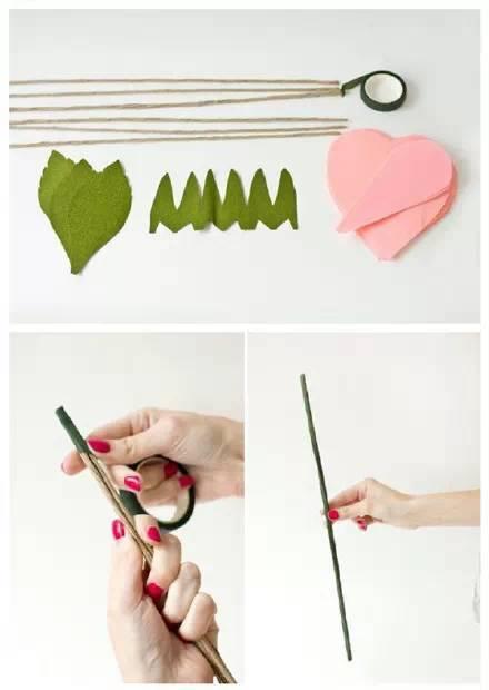 绿胶布,用纸包好的电线(共6根,三根主茎,三根叶子) 03 折纸玫瑰花 04
