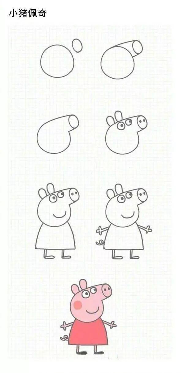小猪佩奇简笔画教程步骤图解大全 怎么画小猪佩奇 简笔画网