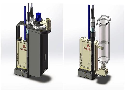 光宝牌(gounbot)非接触式压电陶瓷喷射阀的点胶频率是传统气动点胶阀图片