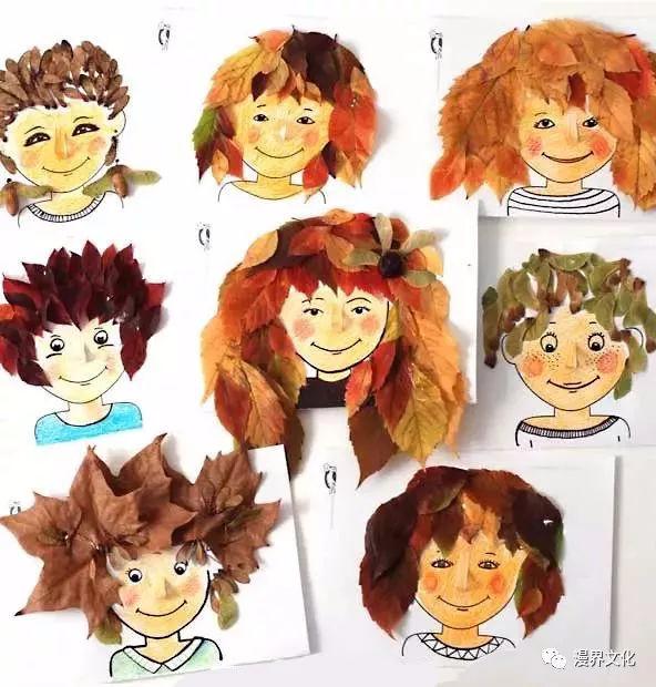 1 步骤一:先用笔勾出小朋友的脸; 步骤二:在需要贴树叶的地方,涂上
