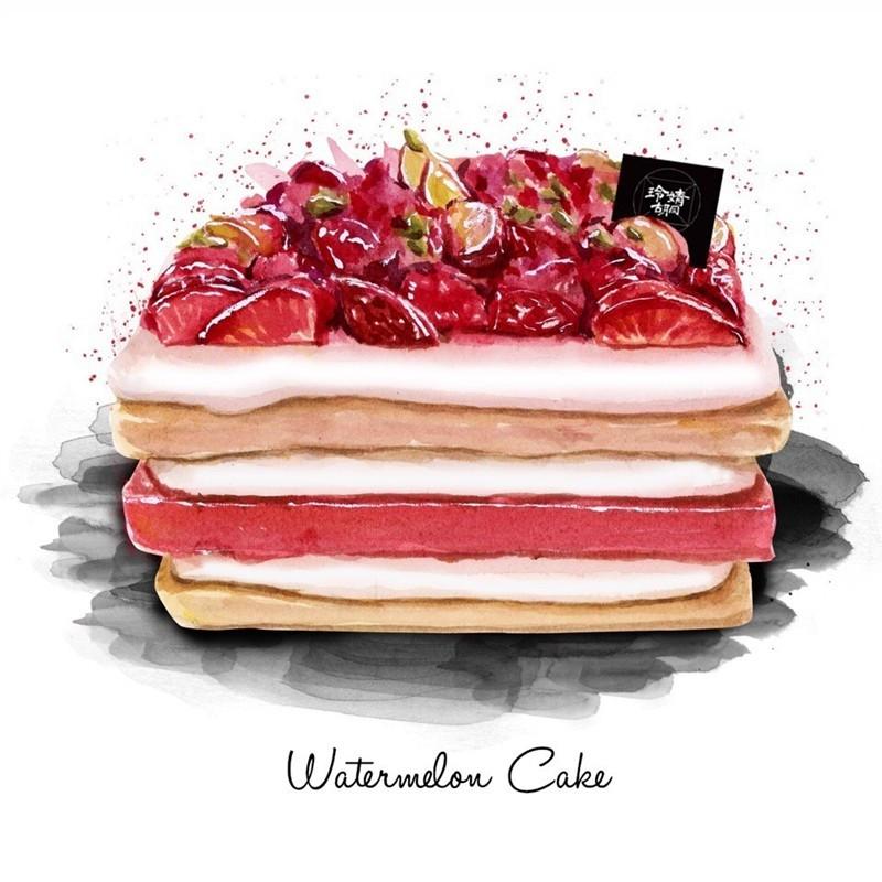 这组甜点蛋糕的水彩画真的很诱惑,满足了我对它的所有