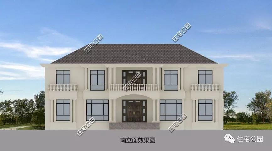带南北通透的主卧套房,13x21米经典意式阳光别墅(全图
